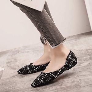 Pointed Toe Ballet Flat Slip On Plaid Dress Shoes